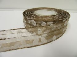 2 metres or 20 metre Roll 25mm Brown Wired Organza Sheer Flower Ribbon